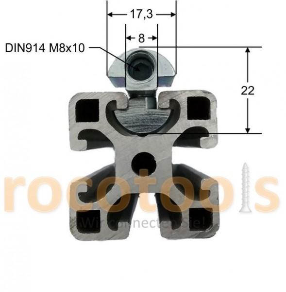 Profilspanner schmal q für Nut 8 Profil 40, Stahl verz.
