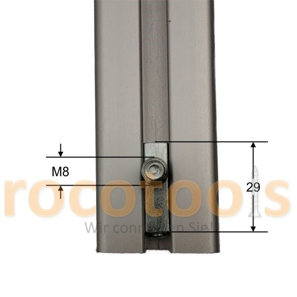 Profilspanner Gewinde für Nut 8 Profil 40, Stahl verz.