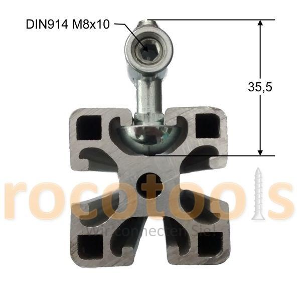 Mittelspanner rund Vds für Nut 8 Profil 40, Stahl verz.