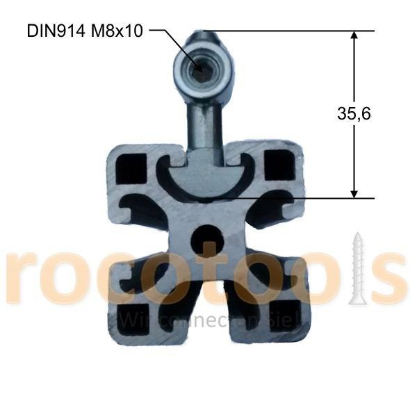 Mittelspanner schmal q für Nut 8 Profil 40, Stahl verz.