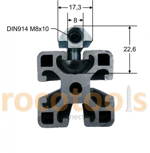 Profilspanner rund für Nut 8 Profil 40, Stahl verz.
